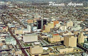 Aerial shot of the downtown Phoenix area in the 1960s.