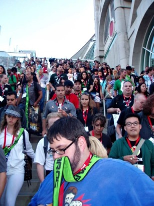 Staircase crowded by Comic Con geeks