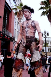 Costumed man on stilts in the Gaslamp District of San Diego