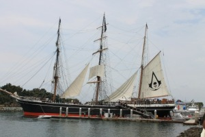 Tall ship decorated as the Jackdaw from Assassins Creed III.