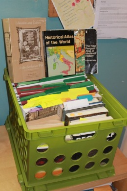 Picture of books and files.