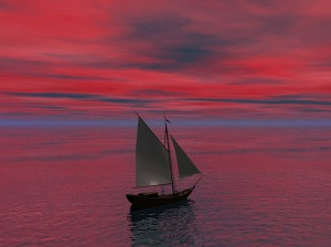 Ship with red sunset