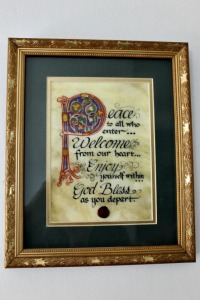 This beautiful picture was purchased from St. Patrick's Cathedral in New York City. Cost? About $12. Frame was about $20.