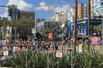 Hordes of people in the Gaslamp District