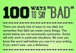 """100 ways to say """"Bad""""…Infographic…"""